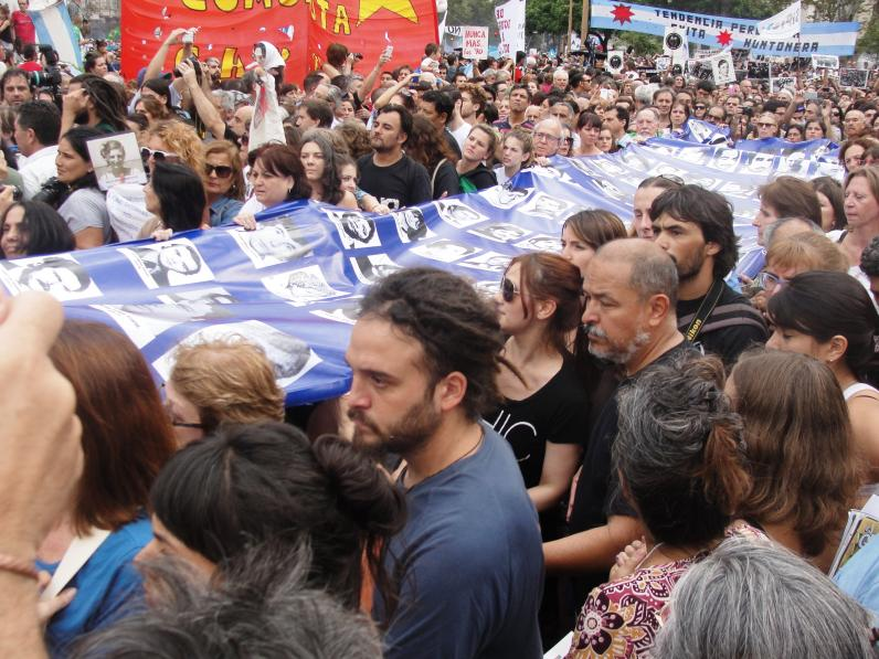Human rights organizations march to the Plaza de Mayo for the 40th anniversary of the military coup